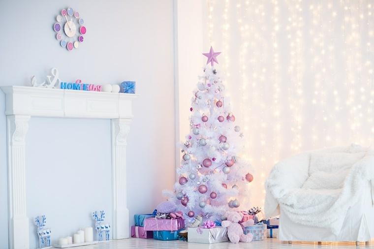 adornos navidad blancos arbol blanco bolas rosa ideas