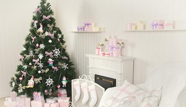 adornos navidad blancos combinados rosa ideas