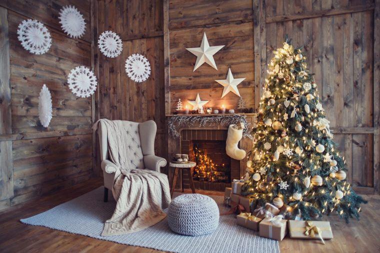 Blanca navidad con decoraci n moderna y cl sica - Decoracion navidena rustica ...