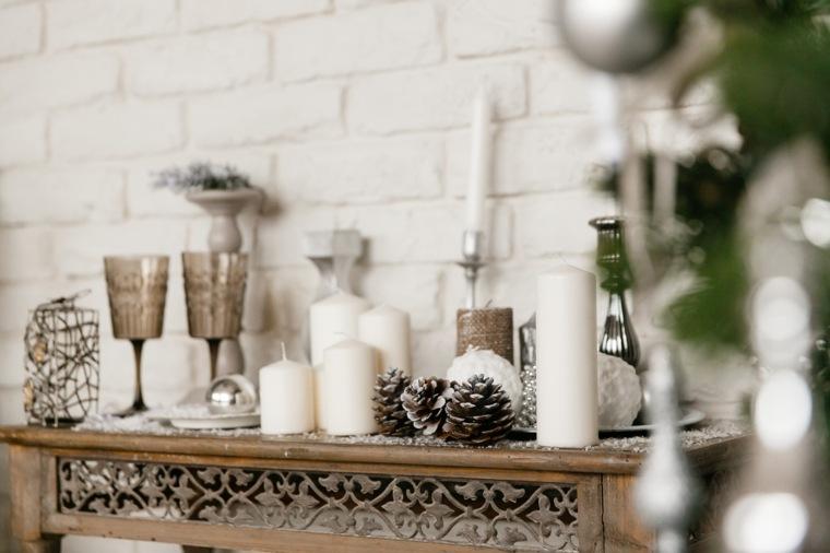adornos navidad blancos opciones chimenea ideas