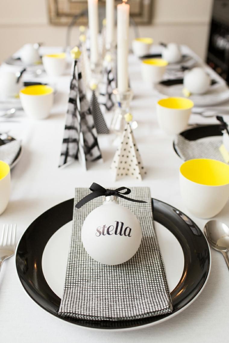 adornos navidad blancos ornamentos mesa blanco negro ideas