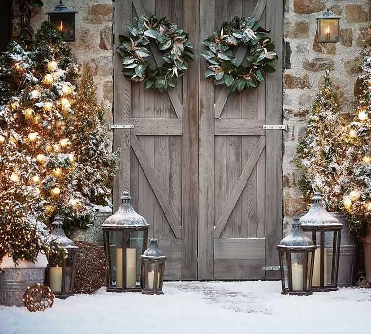 adornos navidenos originales jardin arboles luces navidad ideas