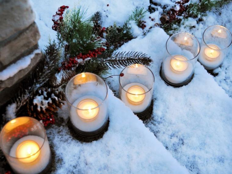 adornos navidenos originales jardin linternas escaleras ideas