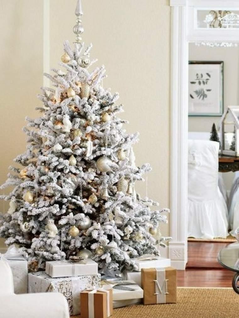 rbol de navidad blanco decorado saln
