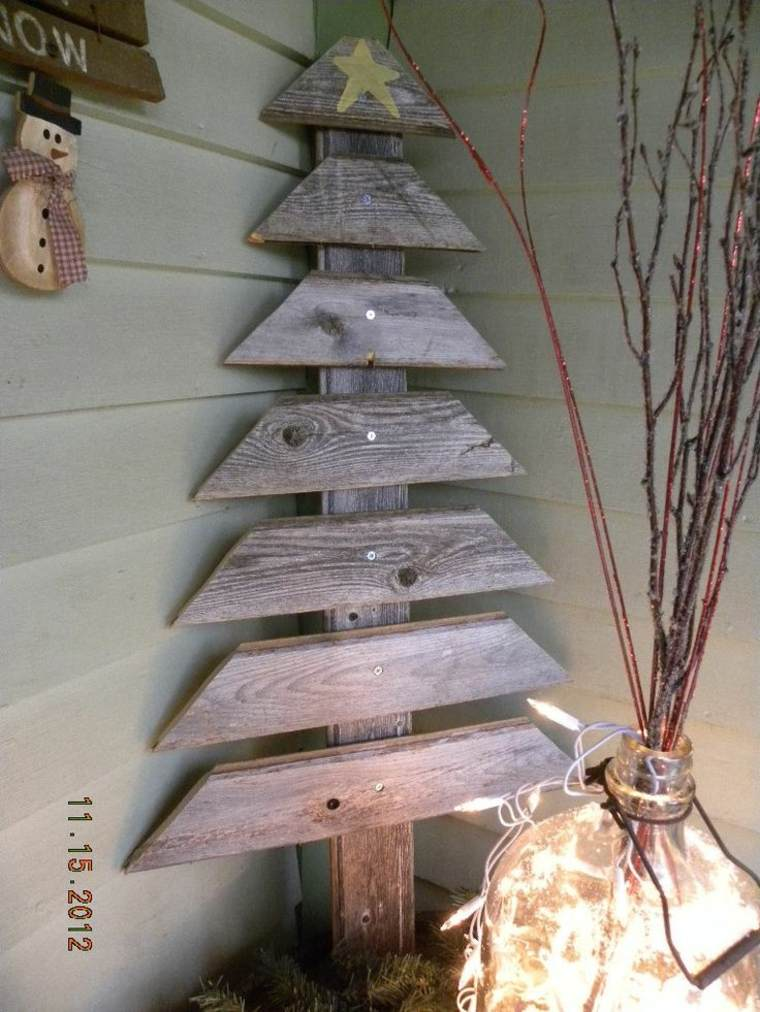 Rboles de navidad caseros 42 ideas con madera r stica - Arbol navidad diseno ...