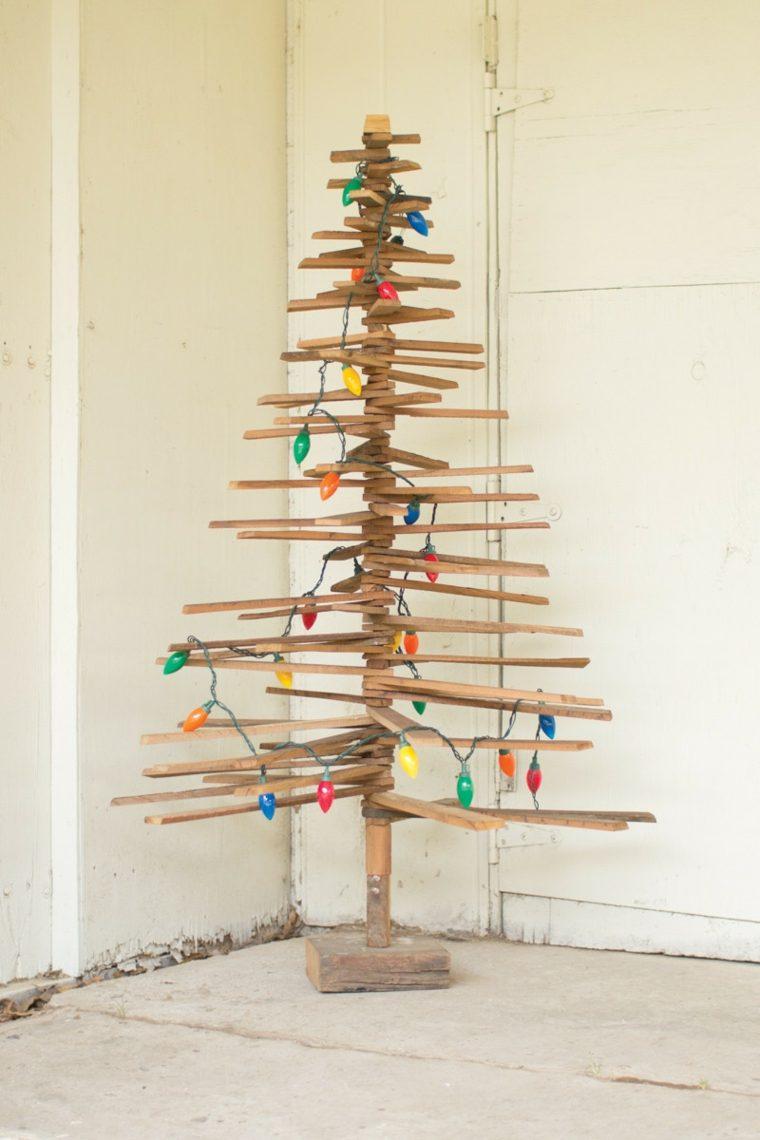 arbol navidad luces colores - Arbol De Navidad De Madera