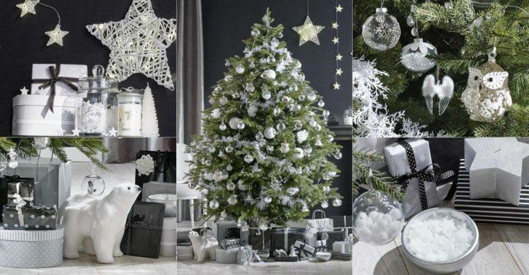 árboles de navidad decorados blanco interior