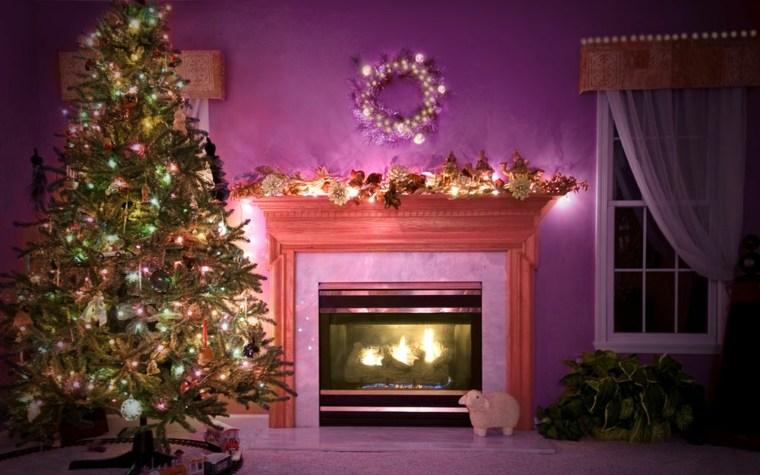 árboles de navidad decorados morado salón