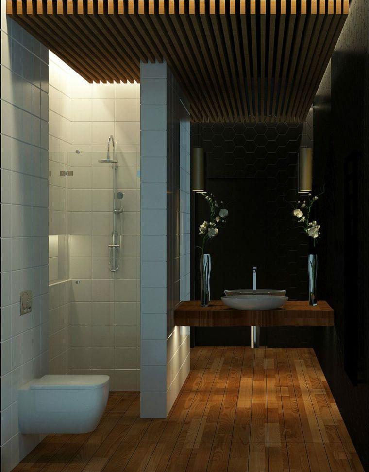 bano negro paredes suelos blanco