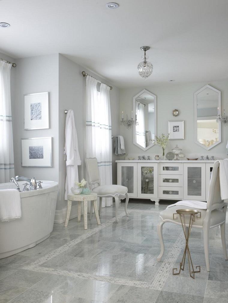 bano amplio lujoso muebles blancos ideas
