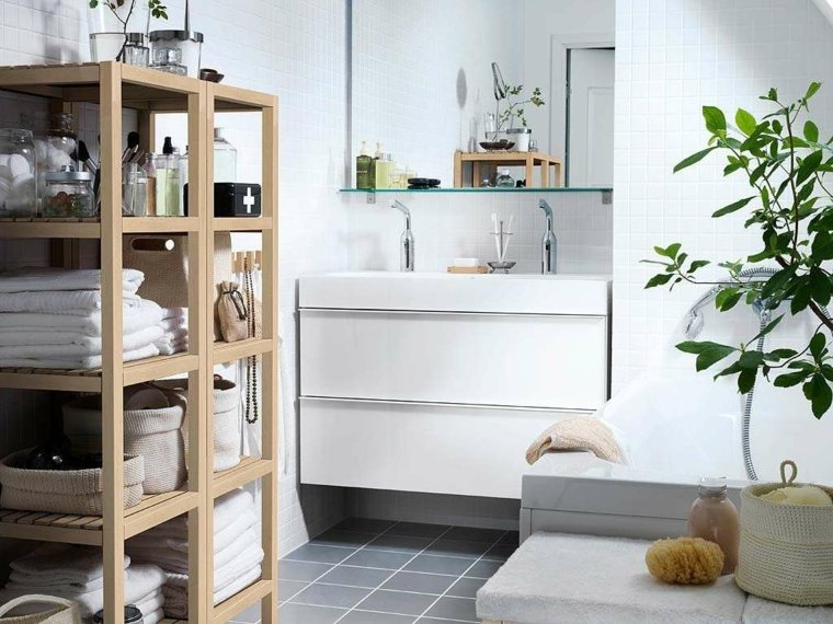 Ba o peque o 38 ambientes ntimos y modernos for Estanteria madera bano