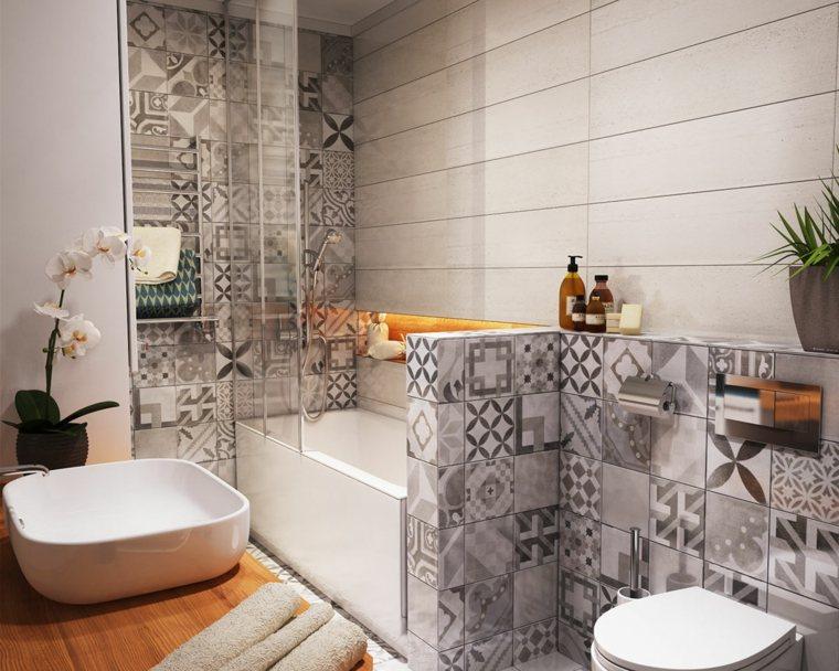 Ba o peque o 38 ambientes ntimos y modernos for Baneras banos pequenos