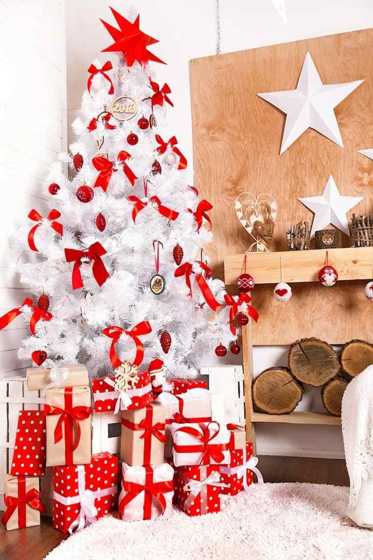 Blanca navidad con decoraci n moderna y cl sica - Arbol de navidad en blanco ...