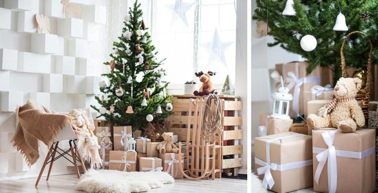 blanca navidad decoracion moderna arbol verde destaca ideas