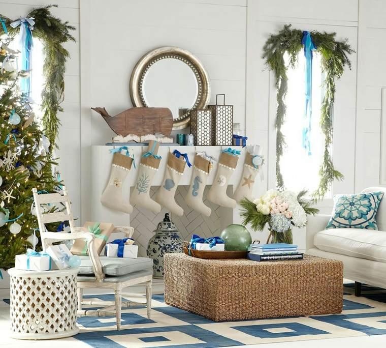 blanca navidad decoracion moderna blanco azul ideas