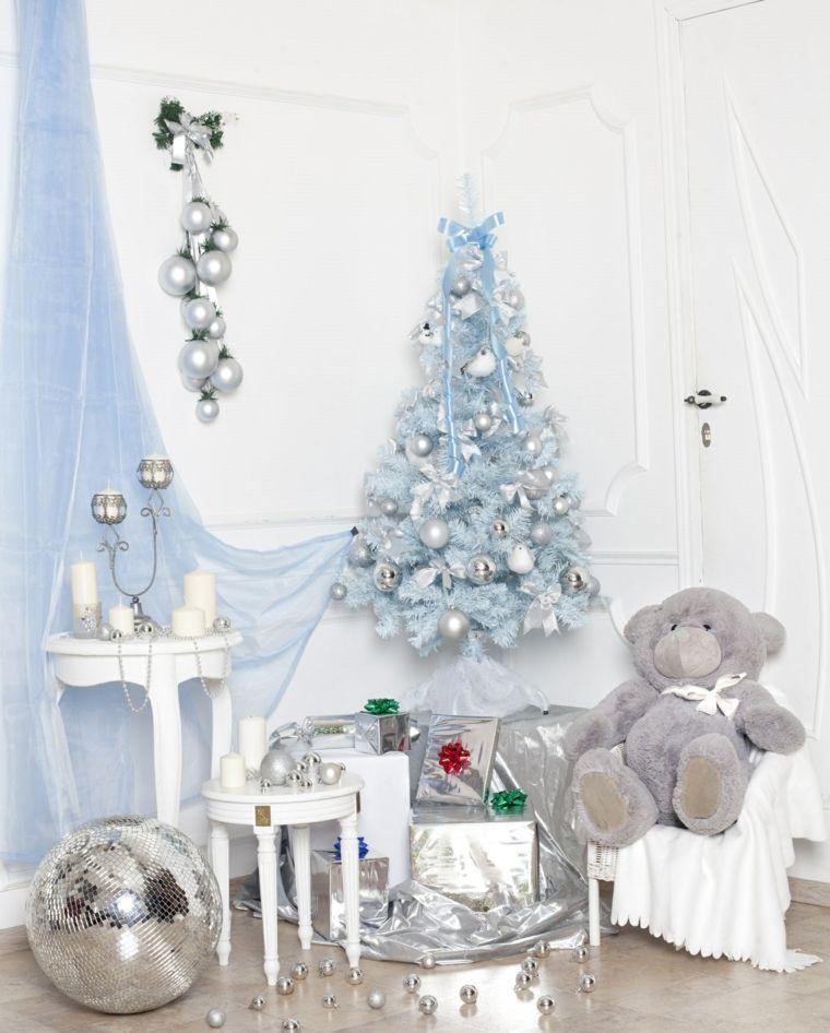blanca navidad decoracion moderna blanco plata ideas