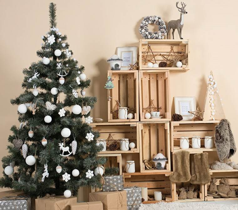 blanca navidad decoracion moderna cajas madera ideas