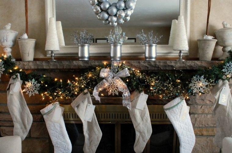 blanca navidad decoracion moderna calcetines chimenea ideas