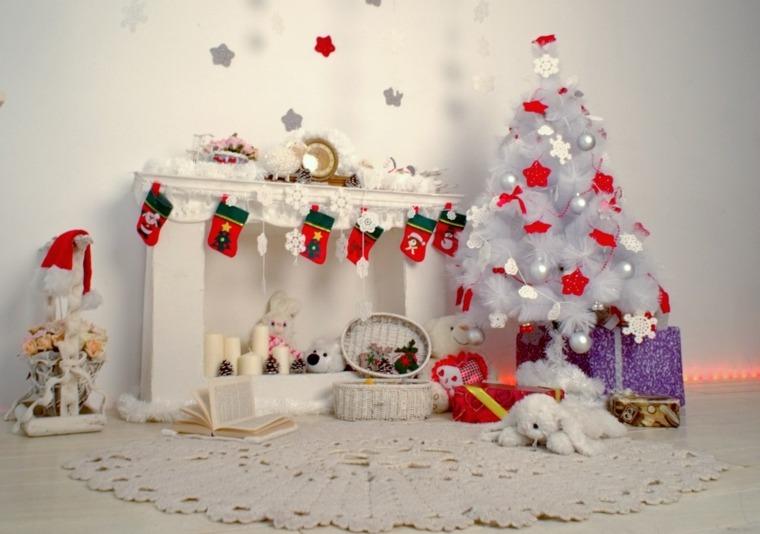blanca navidad decoracion moderna chimenea rojo blanco ideas