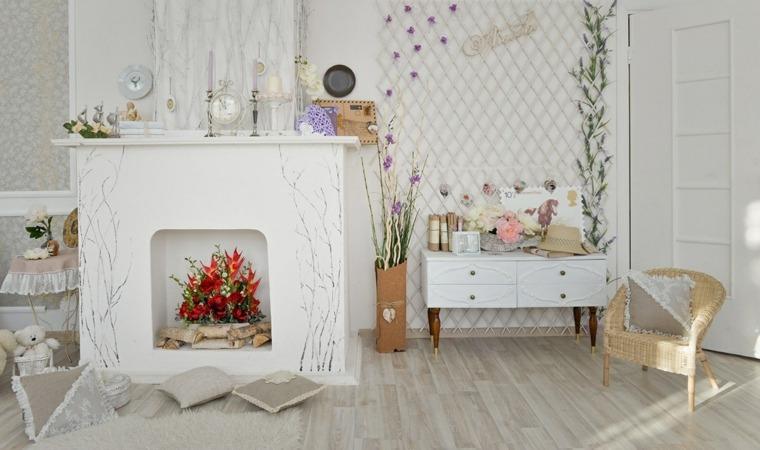 blanca navidad decoracion moderna chimenea ideas