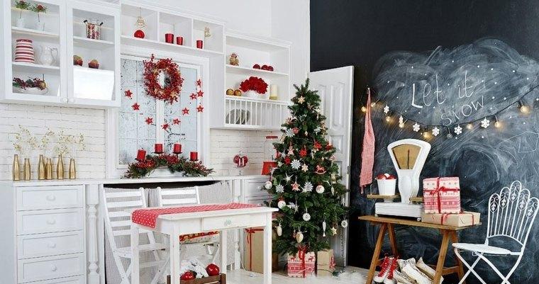 blanca navidad decoracion moderna cocina chic ideas
