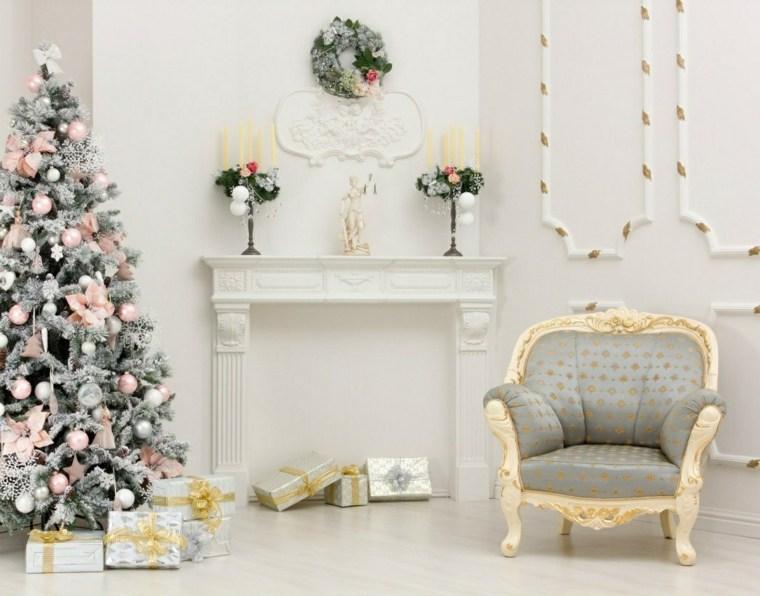 blanca navidad decoracion moderna combinacion blanco rosa ideas