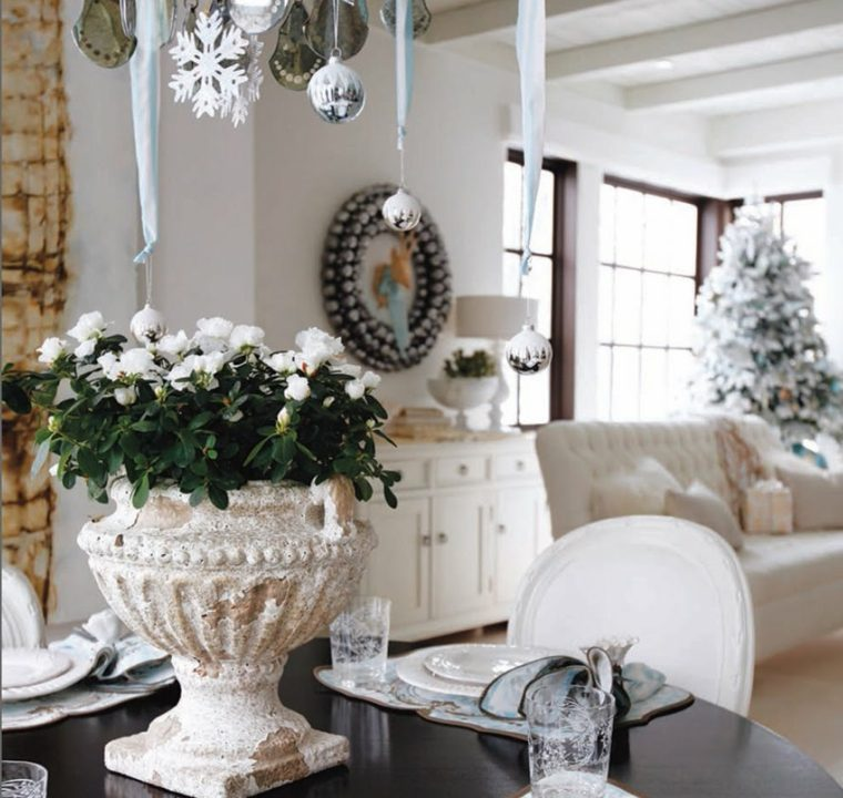 blanca navidad decoracion moderna comedor bello navideno ideas