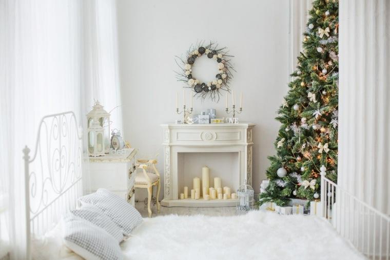 blanca navidad decoracion moderna dormitorio arbol ideas