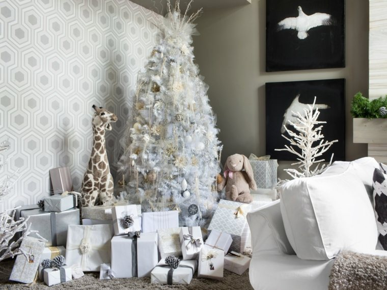 blanca navidad decoracion moderna interiores blancos ideas
