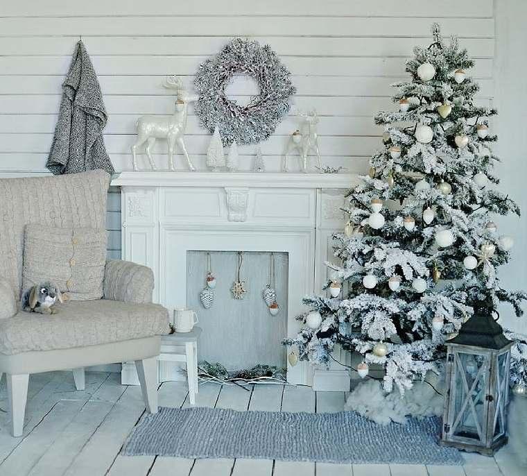 blanca navidad decoracion moderna nieve falsa ideas