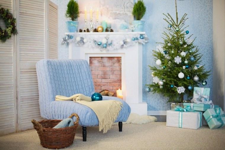 blanca navidad decoracion moderna pared azul adornos blancos ideas