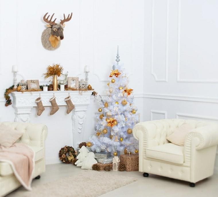 blanca navidad decoracion moderna paredes muebles blanco ideas