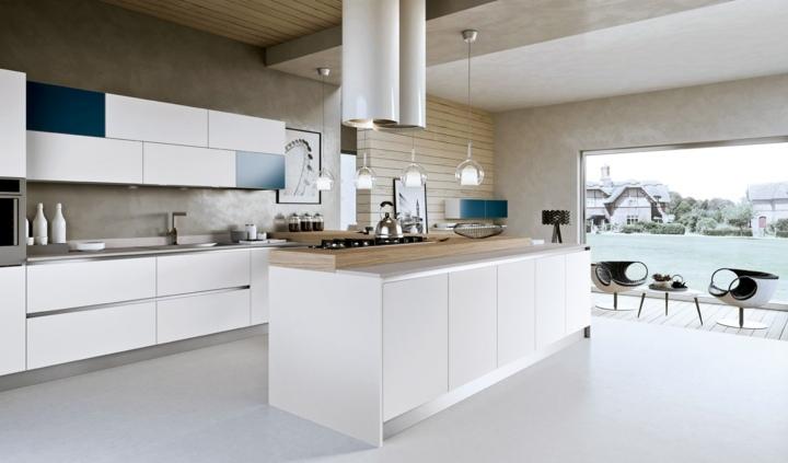 blanco azules elegantes abiertas cocina