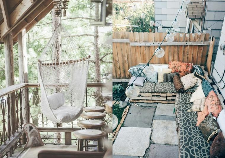 boho estilo decoración balcones