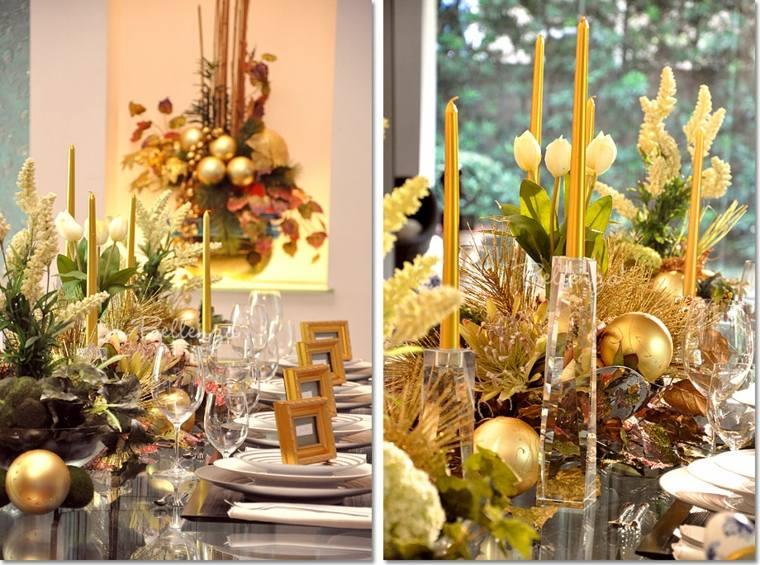 bonita mesa decoración tonos dorados