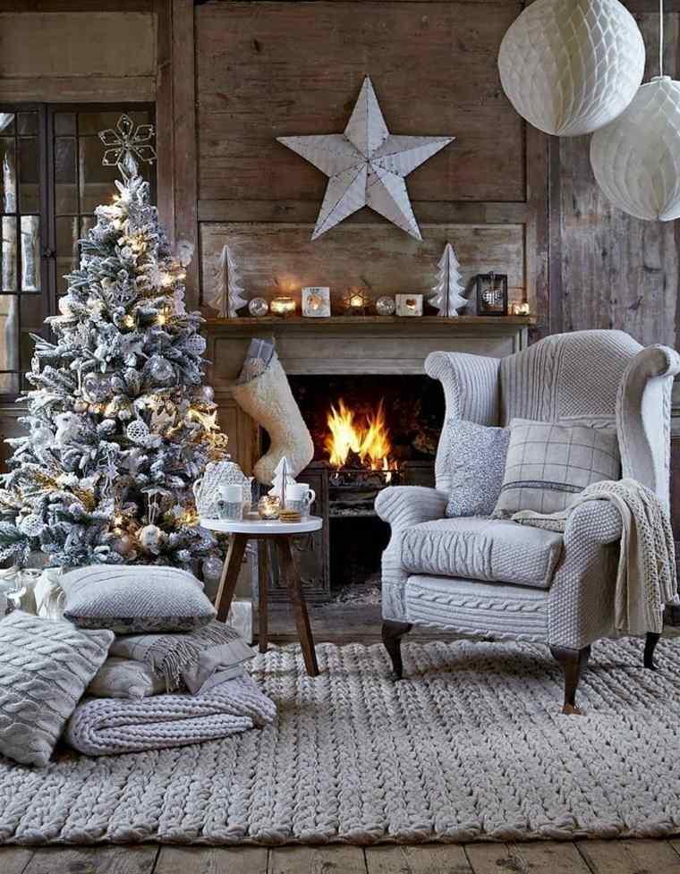 bonita sala estar decoración invierno