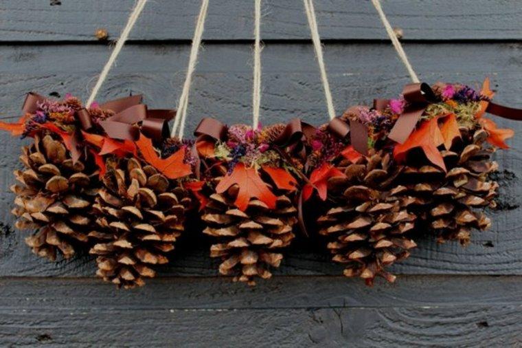 bonitas pinas colgantes hojas lazos