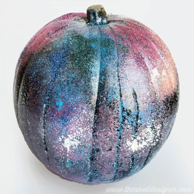 calabaza decorada pintura purpurina