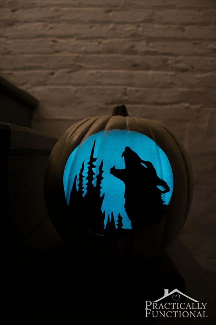 calabaza lobo aullando luna llena
