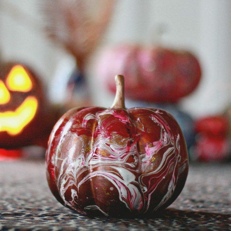 calabaza pintada color rojo difuminado