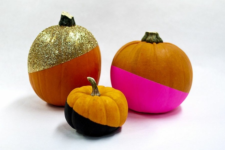 calabazas de halloween bicolores elegantes dorados