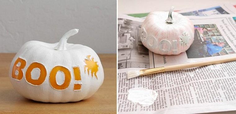calabazas de halloween blanco letras sorpresa