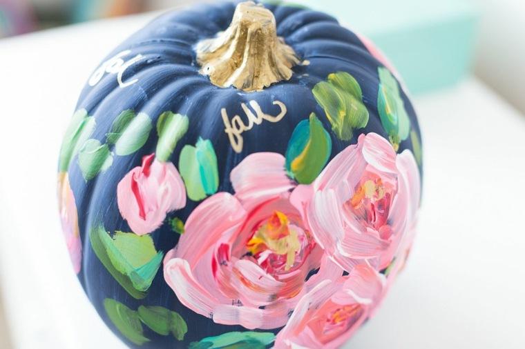 calabazas de halloween colorida floral rosa