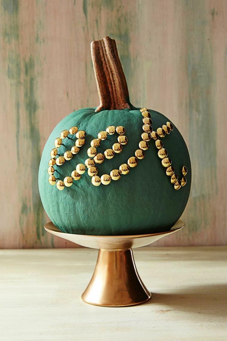 calabazas de halloween dorados verdes suelos