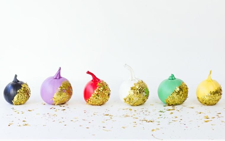 calabazas decoradas papel dorado brillante