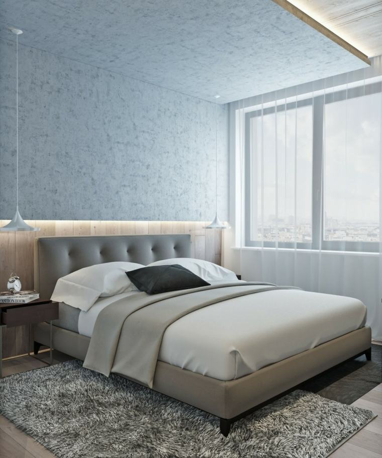cama moderna cabecero color gris