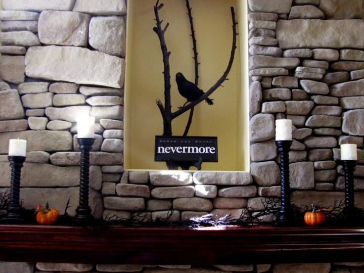 candelabros pintados calabazas ramas negro