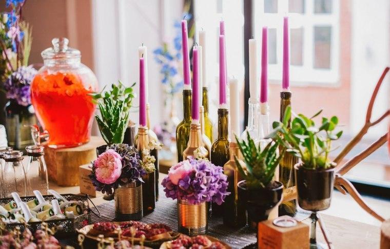 centro mesa boda vintage velas ideas