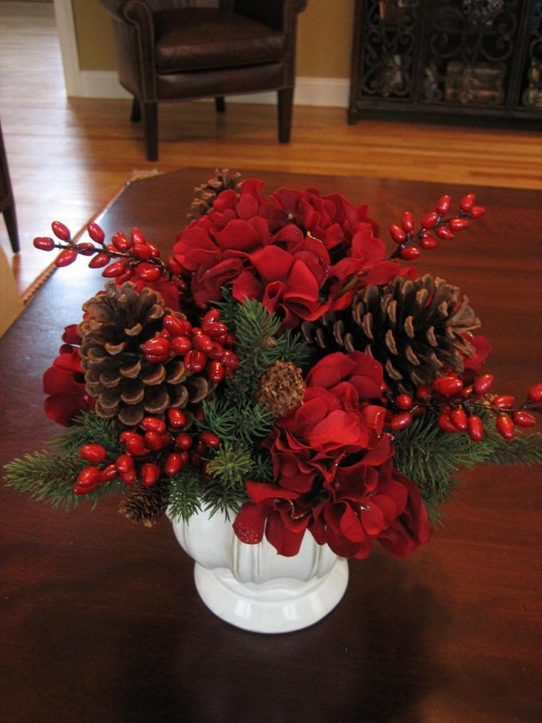 centro mesa tipico navideno rojo recipiente blanco ideas