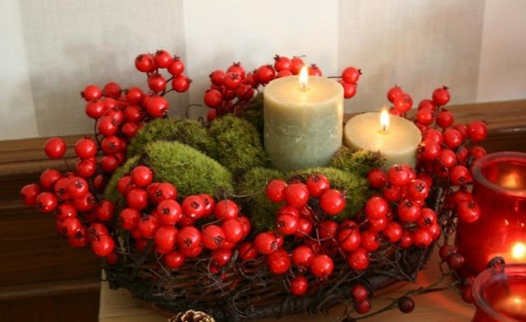 centro mesa con bayas rojas